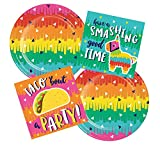 Feista Cinco de Mayo Taco Tuesday Party Supplies for 24 People | Bundle Includes Paper Dessert Plates & Napkins | Fiesta Fun Design