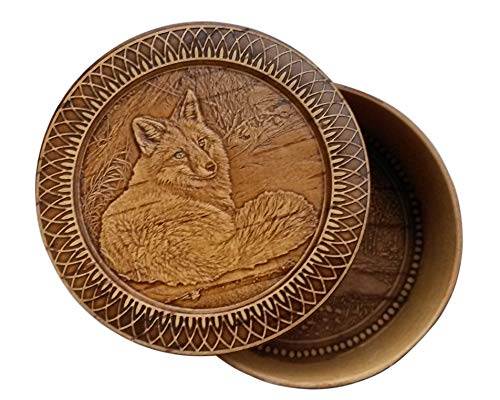 Round Decorative Trinket Birch Bark Wooden Box Animals (Fox)