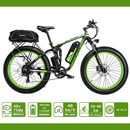 eléctrica Bicicleta para hombres Extrbici 750W 48V 26 pulgadas Bicicleta de montaña para adultos Nieve VTC Neumático grande Tres modos de conducción XF800 (Verde)