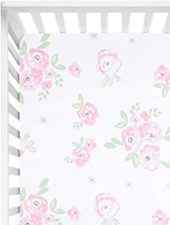 TILLYOU Microfiber Floral Crib Sheet for Girls, Silky Soft Flower Toddler Sheets Printed, Breathable Cozy Hypoallergenic Baby Sheets for Standard Crib and Toddler Mattress, 28 x 52in