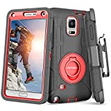 BENTOBEN Case for Galaxy Note 4, Shockproof Heavy Duty Rugged Hard PC Soft Rubber with Kickstand Belt Clip Holster Hybrid Full Body Protective Phone Case for Samsung Galaxy Note 4 Case, Black/Red
