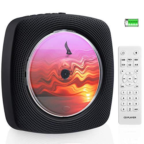 Wiederaufladbarer CD Bluetooth Player mit 4 Stunden Spielzeit CD Player Tragbar an der Wand montierbar CD Player Eingebaute HiFi Lautsprecher mit Fernbedienung Musikplayer Unterstützung FM Radio