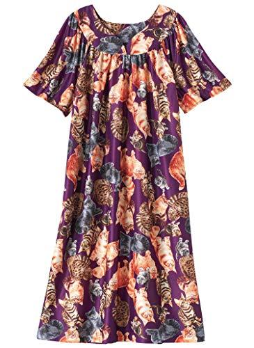AmeriMark Women's Lounger House Dress - Short Sleeve Patio Dress w/Side Pockets Iris Kitty 01X