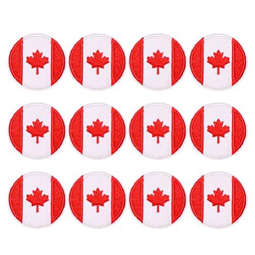PRETYZOOM Canadese vlag esdoorn blad patch Canada haak lus geborduurd naaien op motorfiets Tags patch voor reizen rugzak hoeden jassen team uniform 12 stks