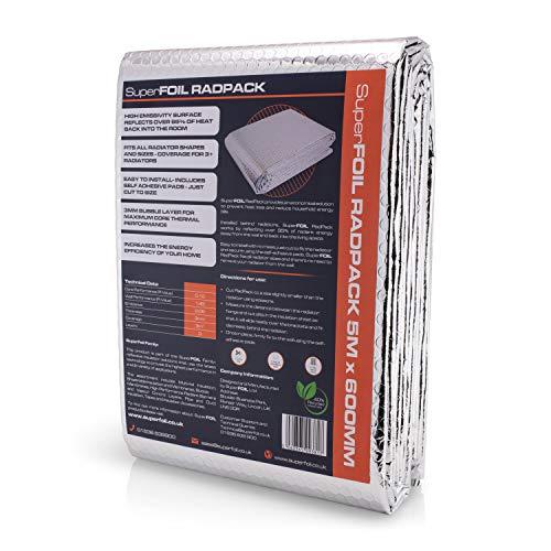 SuperFOIL RadPack Isolierfolie, 5 m x 60 cm, 3,6 mm, wärmereflektierende Luftpolsterfolie, spart Energie und Geld, isoliert bis zu 3 Heizkörper pro Packung, silber, 5 Medium