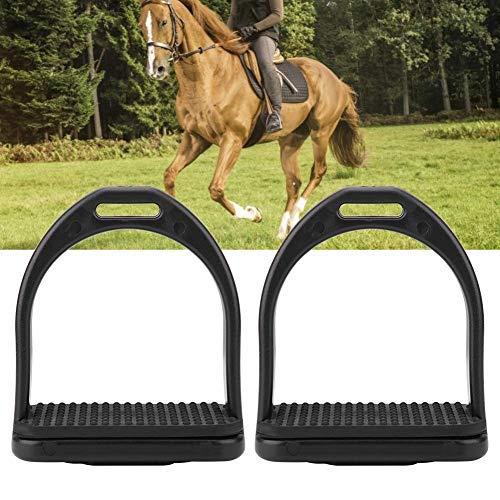 HEEPDD Veiligheids-stijgbeugel voor zadel, 1 paar zwarte kunststof zeer sterke, lichte reflex-3D-breedspoor paardenbeugel, L