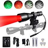 LUMENSHOOTER A8Plus Long Range Zoomable Hunting Flashlight Spotlight Kit, Green Red White Infrared 850nm IR...