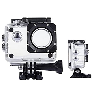 TEKCAM Action Camera Waterproof Case Underwater Protective Housing Case Compatible with AKASO EK7000 EK5000/ DBPOWER EX5000/ WiMiUS Q1Q2/ Vemont/EKEN H9R/ Campark X15 4K Sports Camera by TEKCAM