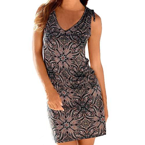 Sporzin Damen Kleid Dress Sommerkleid Elegant Boho Strandkleid Ärmellos Einstellbar Cocktailkleid Minikleid Abendkleid Streifen Lässige Bedrucktes