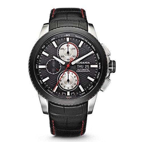 Rodania 25053-26 - Reloj para Hombres, Correa de Cuero Color Negro