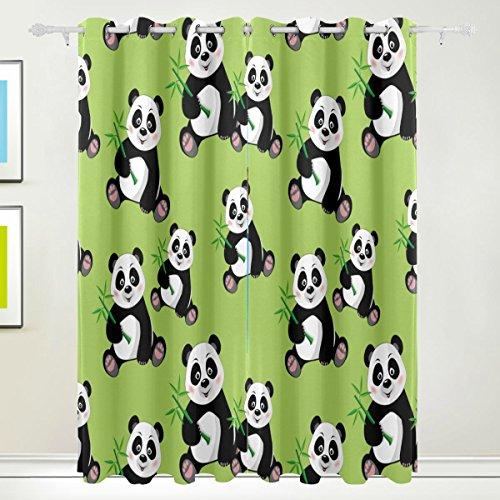 TIZORAX Panda Bambus-Vorhang, Raumverdunkelung, Thermo-Verdunkelung, Fensterpaneel, Vorhänge für Heimdekoration, 213,4 x 139,7 cm, Set mit 2 Paneelen