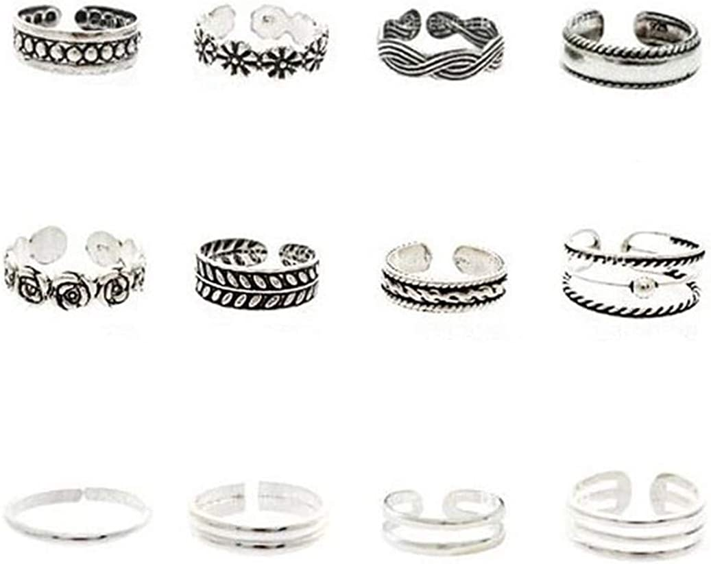 GOMYIE 12Pcs Seaside Toe Finger Ring Set Bohemian Vintage Joint Ring