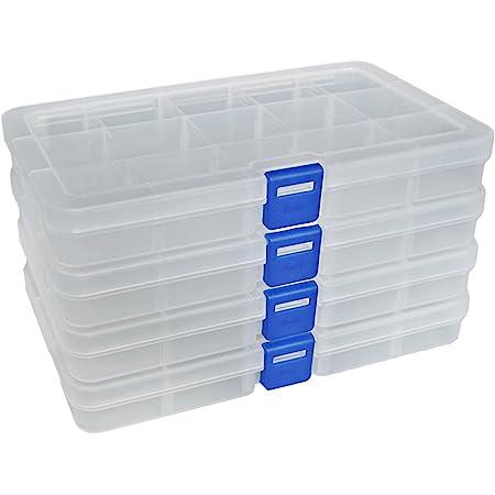 DUOFIRE Boîte De Rangement Plastique Bijoux Outils Ajustable à Usages Multiples Récipient (15 Compartiments x 4, Transparent)
