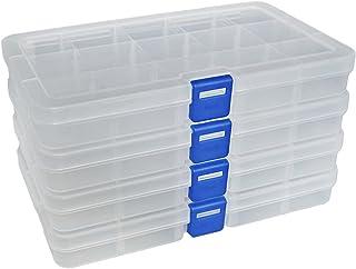 DUOFIRE Ajustable Caja de Almacenamiento de plástico Joyería Organizador Contenedor de Herramientas (15 Compartimientos x ...