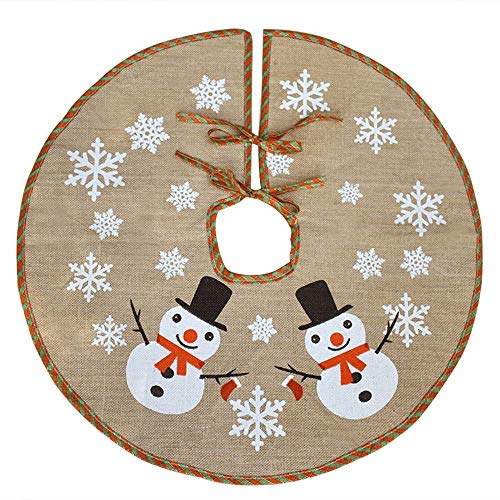 Awtlife Copri base per albero di Natale, in iuta, decorazione vintage con grazioso pupazzo di neve, 122 cm