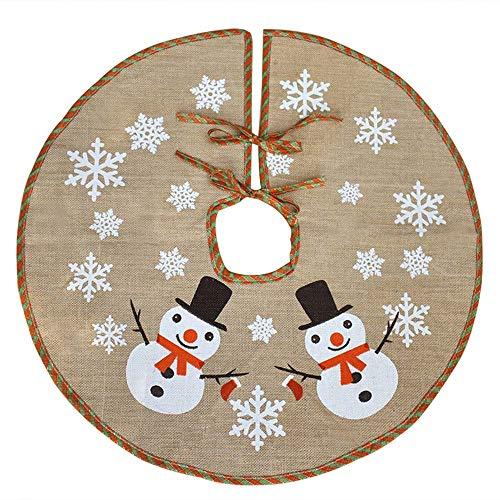 Awtlife - Falda de arpillera para árbol de Navidad (122 cm), diseño de muñeco de nieve