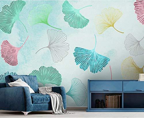 Acuarela pequeña fresca ginkgo leaf papel tapiz mural TV sofá fondo pared 430×300cm
