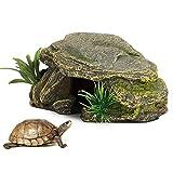 Nicoone Tortuga de reptiles con plataforma para esconder cueva, pecera, acuario, decoración de paisajismo, 16 x 6,5 x 9,5 cm