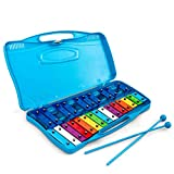 Costzon 25-Note Xylophone w/Case, Colorful Musical Toy w/Clear Tuned Metal Keys, 2 Child-Safe Mallets, Perfectly Tuned Instrument for Kids, Toddlers (Without Music Sheets, Blue)