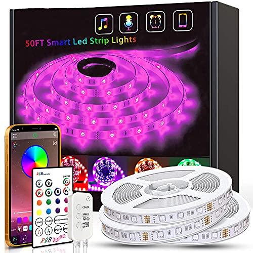 DOOK Tiras LED 15M, Tira de Luz LED Bluetooth LED RGB 5050 Iluminación de Música con Control Remoto de 23 Teclas 16 Millones Colores 28 Estilos Decoración para Habitación Fiestas
