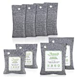 Bamboo Charcoal Air Purifying Bags (8 Pack), Nature Fresh Activated Charcoal Bags,Removes Odors and Moisture, Odor Eliminators for Home, Pets, Car, Shoes(2 x 200g) (2 x100g) (4 x 50g)