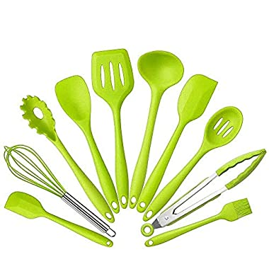 10 Pcs set Silicone Heat Resistant Kitchen Cooking Utensils spatula Non-Stick Baking Tool tongs ladle gadget by BonBon (Green)