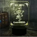 Xiaoaigehouse Lannister 3D Led Night Light Juego De Tronos Una Canción De Hielo Y Fuego Decoración Del Dormitorio Fans Boy Toy Christmas Gift
