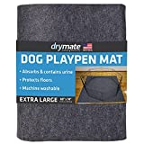 """Drymate Dog Playpen Mat, Absorbent/Waterproof/Non-Slip/Machine Washable, XL Size (60"""" x 74""""), Reusable Puppy Pad for Training, Whelping, Housebreaking, Incontinence, and Crate/Kennel (USA Made)"""