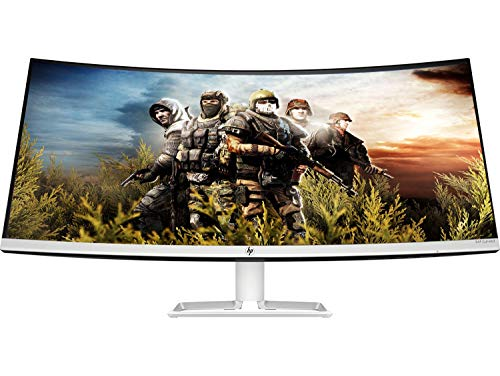 HP 34-Inch Curved Ultra-Thin Bezel Less Qhd IPS Monitor-AMD Free Sync, 300 Nits with Audio in, Headphone, USB, Hdmi, Display Ports - HP 34F Curve Monitor (6Jm51Aa)