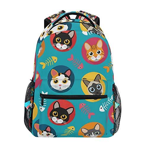 Cute Cats Fish Bone Backpack School Bookbag Travel Shoulder Laptop Bag for Womens Mens