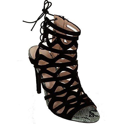 Momo&Ayat Fashions dames uitgesneden slangenpatroon trim hakken sandalen UK 3-8/EU 42