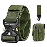 BESTKEE Cinturón táctico para hombres 1.5 pulgadas, estilo militar Cinturón con hebilla con cierre rápido de hebilla de metal, regalo con bolsa táctica Molle y gancho (Ejercito verde)