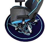 HYLFF Cartoon Swivel Chair Mat for Hardwood Floor, Round Floor Mats for Computer Desk Gaming Chair, Anime Pattern Anti-Slip Floor Protector,Blue,80cm