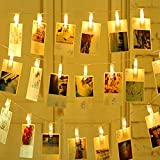 LED String Fairy Light 40 LEDs 20 Photo Clips 13ft Decoration for Hanging Pictures, Cards, Artwork,3AA Battery Operated (Warm White)