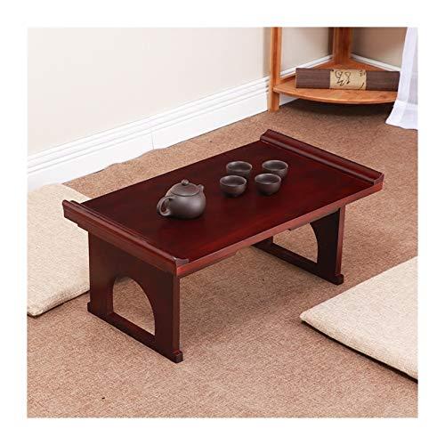BDZC Mesa de Poca Altura Muebles Japonesa Antigua Consola Tabla Plegable Piernas Rectángulo 60 cm Sala de Estar Tradicional Madera Sólida Bandeja Mesa de Madera Fuerte