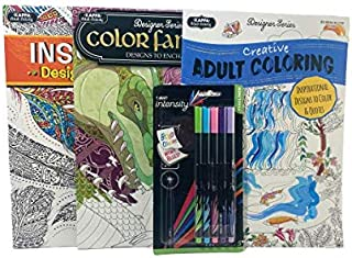 Adult Coloring Books Bundle with 5 pack of Intensity Fine liner markers