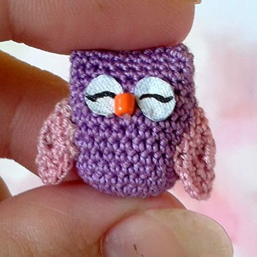 Miniature Owl Crochet Toy Handmade Dollhouse Plush Bird