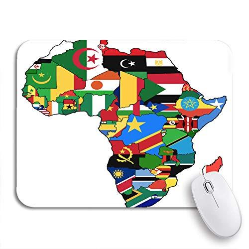 AIMILUX Gaming und Office Mauspad,Afrikanische Union auf aktueller Vintage politischer Karte von Afrika,rutschfester Unterseite