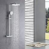 Auralum Columna de ducha con grifo termostatico, Set de ducha termostatica con 25 * 20CM Ducha de Lluvia y 3 Funciones Ducha de Mano