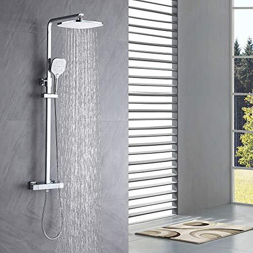 Auralum Duschsystem mit Thermostat Mischer, Duscharmatur Thermostat mit Regendusche Duschkopf und 3 Strahlarten Handbrause. Für Badezimmer