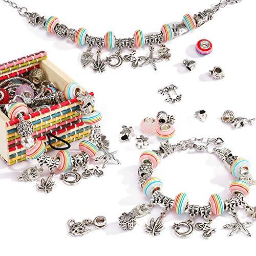 Kit de fabricación de joyas para niñas, 50 piezas de pulseras de abalorios para niñas, regalo para niñas de 8 a 12 años de edad, kit de fabricación de pulseras para niños (caja: 7 x 6,9 x 3,6 cm)