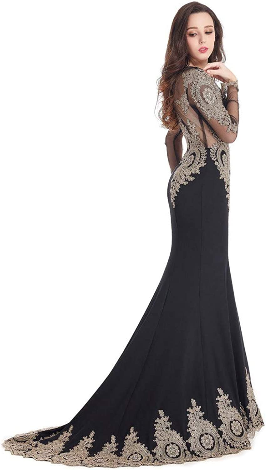 Women's Sexy Round Neck Long Sleeve Mesh Applique Sequin Fitted Bodycon Evening Floor Length Dress Bridesmaid Dress