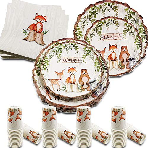 Woodland Creatures Party Supplies Baby Shower Decorations, Forest Animal Friends Theme Party Supplies, 32 Guests Dinner Plates, Dessert Plates,9 oz Cups and Napkins for Baby Shower and Birthday Party