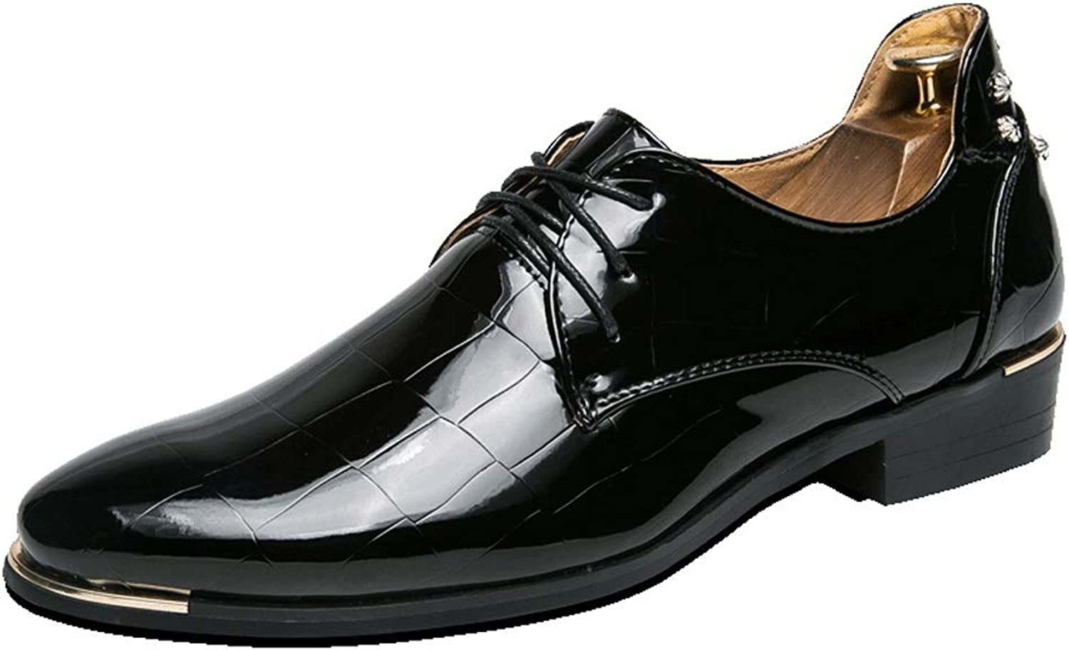 SHANGWU Men's Business shoes Casual shoes Bright Leather Youth Fashion Men's shoes