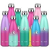 KollyKolla Botella de Agua Acero Inoxidable, Termo Sin BPA Ecológica, Botella Termica Reutilizable Frascos Térmicos para Niños & Adultos, Deporte, Oficina, (750ml Macaron Verde + Esmeralda)