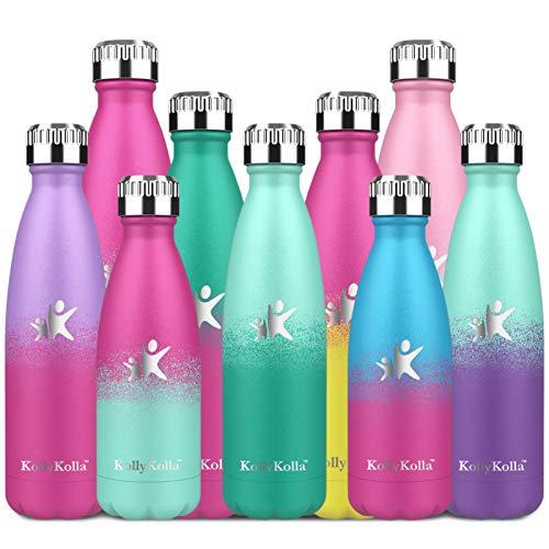KollyKolla Botella de Agua Acero Inoxidable, Termo Sin BPA Ecológica, Botella Termica Reutilizable Frascos Térmicos para Niños & Adultos, Deporte, Oficina, (350ml Macaron Verde + Esmeralda)