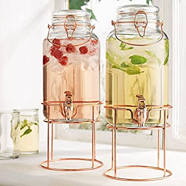 Elegant Home Set of Two (2) Quality Clear Glass Each (1) Gallon Each Glass Bail & Trigger Locking Lid Beverage Dispenser with Spout on Copper Metal Stand.