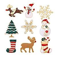 ZITULRY クリスマスブローチ クリスマスピン クリスマス 親愛なる雪の結晶 靴下 クリスマスツリー サンタクロースブローチ 9個セット