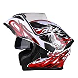 OUTO Deformable Casco Motocicleta Montar al Aire Libre HD Espejo antivaho Casco Integral Hombres y Mujeres Personalidad Cool Four Seasons (Color : White Red Devil, Tamaño : XXXL)