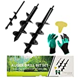 """Auger Drill Bit Set for Planting - Garden Spiral Hole Drill Planter, Bulb & Bedding Plant Augers, Post or Umbrella Hole Digger for 3/8"""" Hex Drive Drill(Gift Box)"""